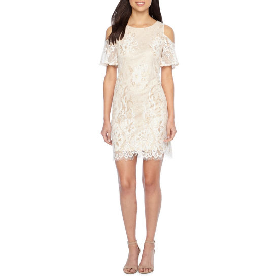 Ronni Nicole Elbow Sleeve Cold Shoulder Lace Shift Dress