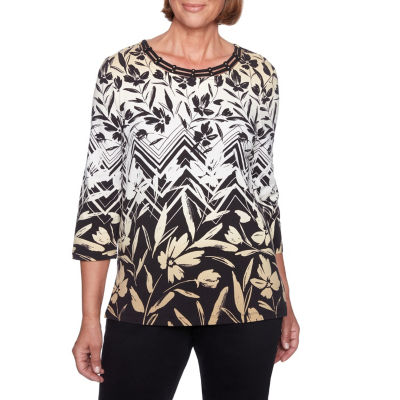 Alfred Dunner Travel Light-Womens Crew Neck 3/4 Sleeve T-Shirt
