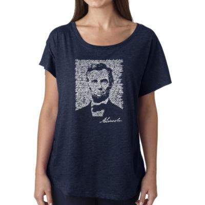 Los Angeles Pop Art Women's Loose Fit Dolman Cut Word Art Shirt - ABRAHAM LINCOLN - GETTYSBURG ADDRESS