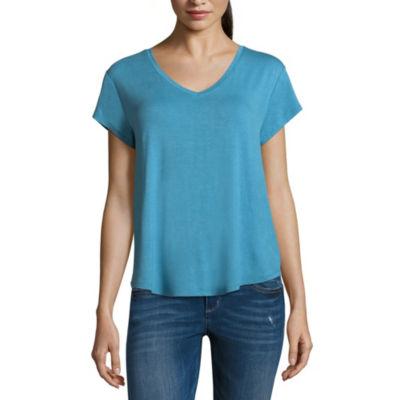 Arizona-Womens V Neck Short Sleeve T-Shirt Juniors
