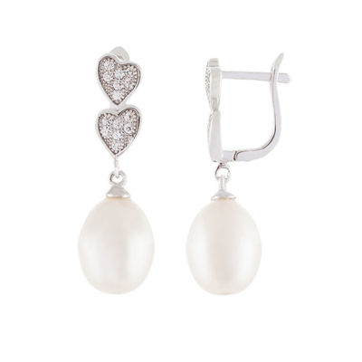 White CULTURED FRESHWATER PEARLS Sterling Silver Drop Earrings