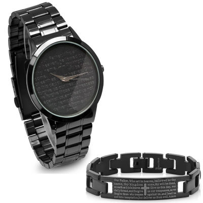 Steeltime Mens Lord's Prayer Black Bracelet Watch-B80-011-W-613-150-B