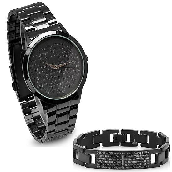 Steeltime Mens Lord's Prayer Black Bracelet Watch-B80-011-W-613-150-B