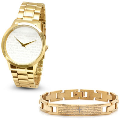Steeltime Mens Lord's Prayer Gold Tone Bracelet Watch-B80-009-W-613-151-B
