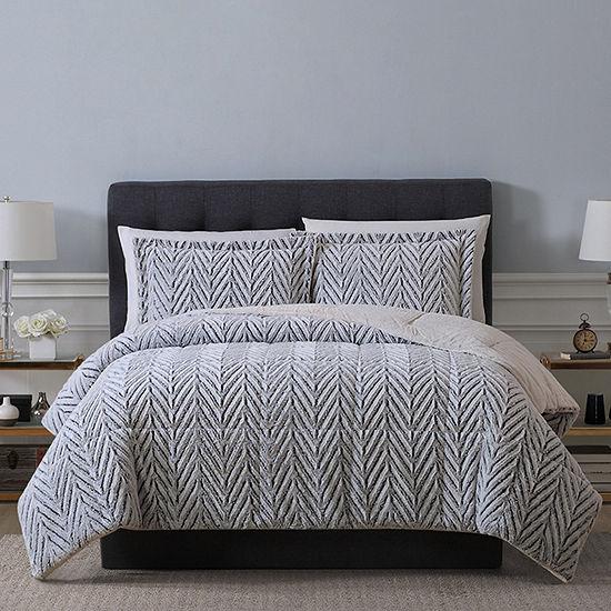 Sculpted Chevron Fur 3-pc. Comforter Set