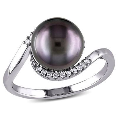 Womens 1/10 CT. T.W. 9.5M Black Cultured Tahitian Pearl Sterling Silver Cocktail Ring