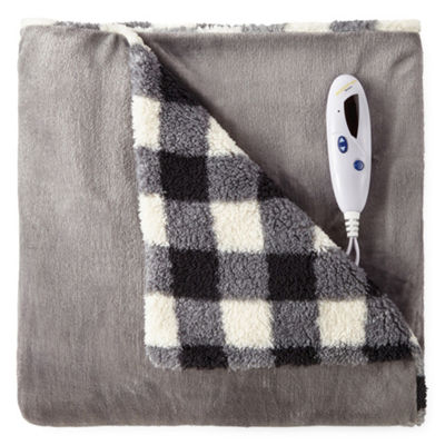 Biddeford Velour Reverse to Sherpa Heated Throw