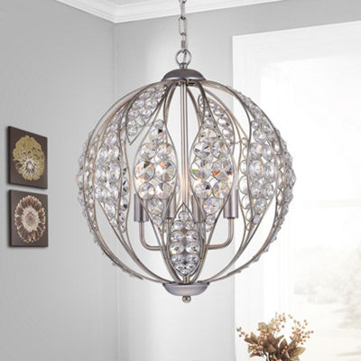 Caiside 3-Light 13-Inch Antique Silver Globe Pendant