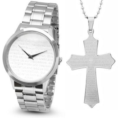Steeltime Mens Lord's Prayer Silver Tone Bracelet Watch-B80-008-W-618-480-P