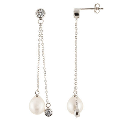 White Cultured Freshwater Pearl Sterling Silver Drop Earrings