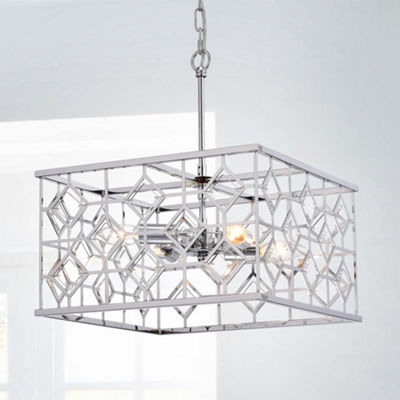 Galiria Chrome-finished 4-light Square Cage Pendant with Clear Glass Shade