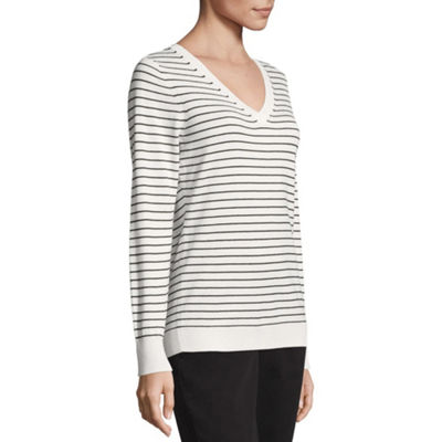Worthington Long Sleeve V Neck Pullover Sweater