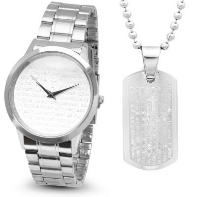 Steeltime Mens Lord's Prayer Silver Tone Bracelet Watch-B80-008-W-618-178-P