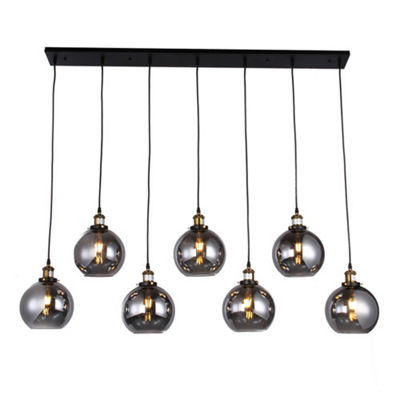 Aira Black and Bronze Metal 7-Light Linear Chandelier with Edison Bulbs