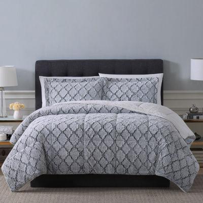 Sculpted Lattice Fur 3-pc. Comforter Set