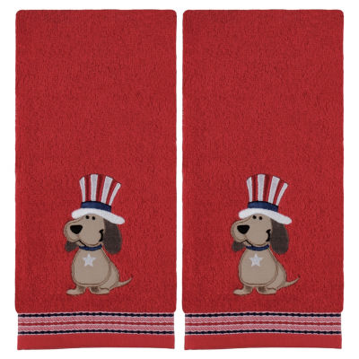 Saturday Knight Top Hat Dog 2-pc. Embroidered Americana Hand Towel