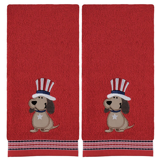 Saturday Knight Top Hat Dog 2-pc. Embellished Americana Hand Towel