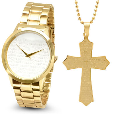 Steeltime Mens Lord's Prayer Gold Tone Bracelet Watch-B80-009-W-618-481-P