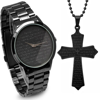 Steeltime Mens Lord's Prayer Black Bracelet Watch and Cross Pendant Necklace-B80-011-W-618-579-P