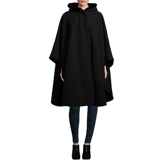 Liz Claiborne Faux Fur Hooded Ruana Cold Weather Wrap