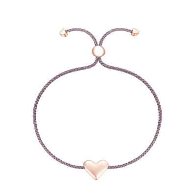 Footnotes Into The Wild Rose Tone Sterling Silver Heart Bolo Bracelet