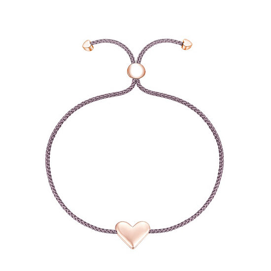 Footnotes Into The Wild Sterling Silver Braid Heart Bolo Bracelet