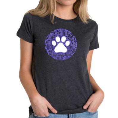 Los Angeles Pop Art Women's Premium Blend Word ArtT-shirt - Gandhi's Quote on Animal Treatment