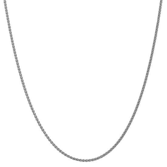 14K White Gold 16 Inch Solid Wheat Chain Necklace