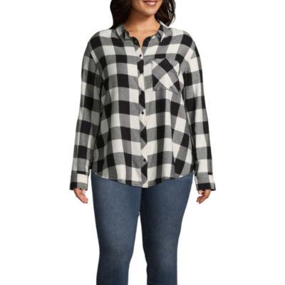 Arizona Loose Fit Long Sleeve Button-Front Shirt-Juniors Plus