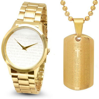 Steeltime Mens Lord's Prayer Gold Tone Bracelet Watch-B80-009-W-618-179-P