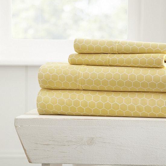 Casual Comfort Ultra Soft Honeycomb Pattern 4 Piece Bed Sheet Set