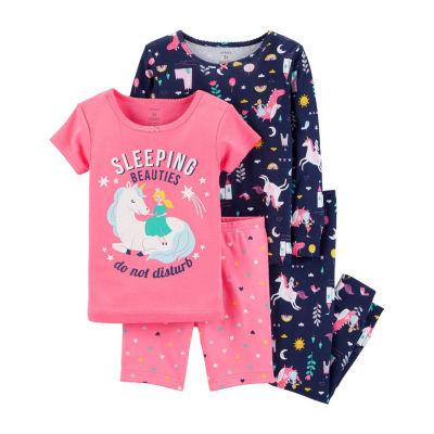 Carter's 4pc Sleeping Beauties Pajama Set- Baby Girl