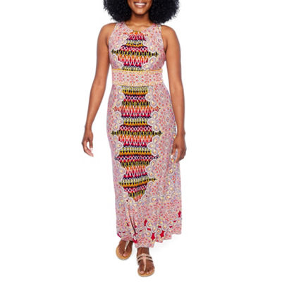 London Times Sleeveless Paisley Maxi Dress-Petite