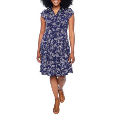 Robbie Bee Short Sleeve Floral A-Line Dress-Petites
