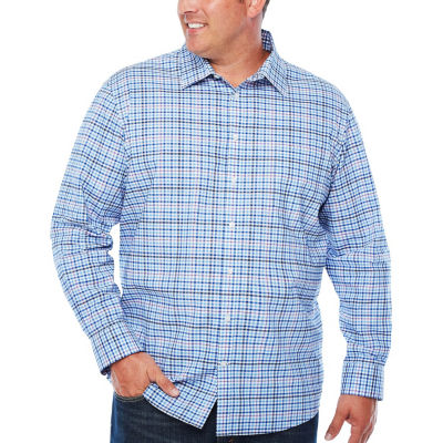 Claiborne Long Sleeve Checked Button-Front Shirt-Big and Tall