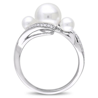 Womens 1/6 CT. T.W. 8.5MM White Cultured Freshwater Pearl 10K White Gold Cocktail Ring