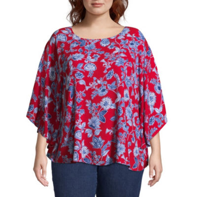 Lark Lane Red, White, & New Butterfly Top- Plus