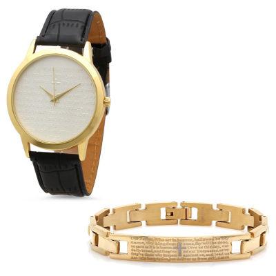 Steeltime Mens Lord's Prayer Gold Tone Bracelet Watch-998-011-W-613-151-B