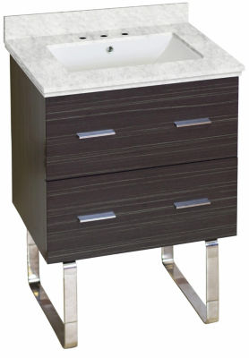 23.75-in. W Floor Mount Dawn Grey Vanity Set For 3H8-in. Drilling Bianca Carara Top White UM Sink