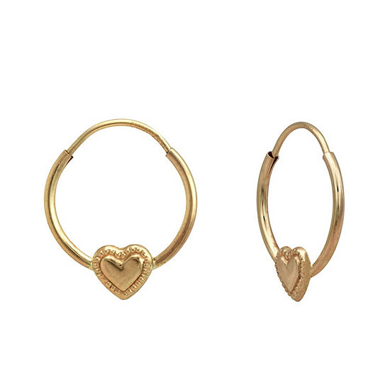 14K Gold 12mm Heart Hoop Earrings