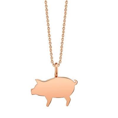 Footnotes Pig Womens Sterling Silver Pendant Necklace