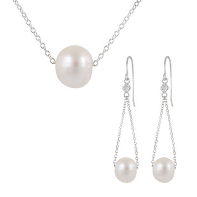 Womens White Sterling Silver Jewelry Set