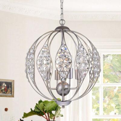 Comelia Antique Silver 13-Inch 3-light Leaf Pendant