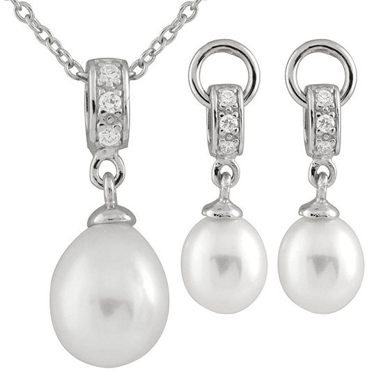 White Cultured Freshwater Pearl Sterling Silver Jewelry Set