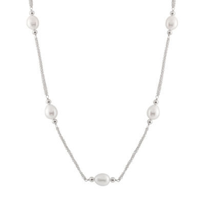 Womens 20 Inch White Sterling Silver Link Necklace
