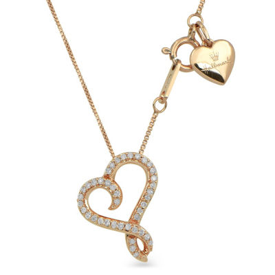 Hallmark Diamonds Womens 1/10 CT. T.W. Genuine White Diamond 14K Rose Gold Over Silver Heart Pendant Necklace