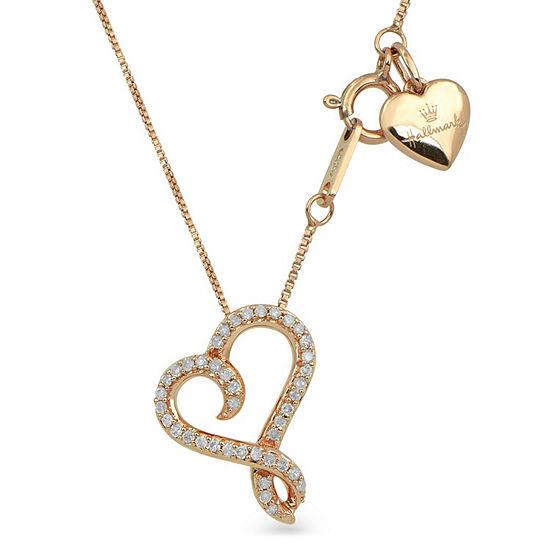 Hallmark Diamonds Womens 1/10 CT. T.W. Genuine White Diamond 14K Rose Gold Over Silver Heart Pendant Necklace