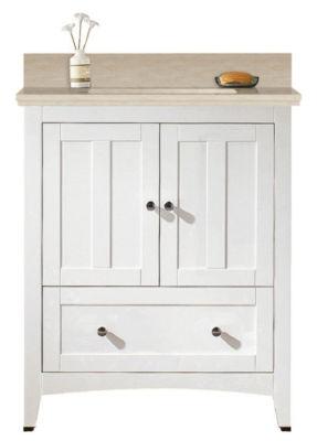 30.5-in. W Floor Mount White Vanity Set For 3H4-in. Drilling Beige Top Biscuit UM Sink