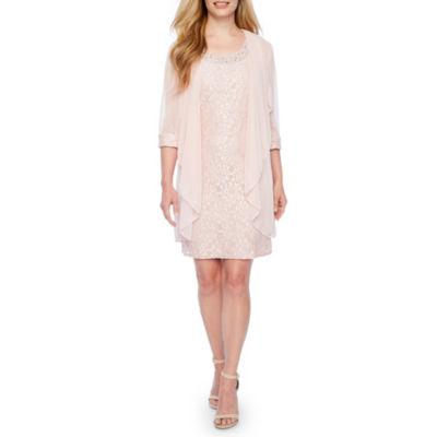 R & M Richards Sleeveless Embellished Jacket Dress-Petite