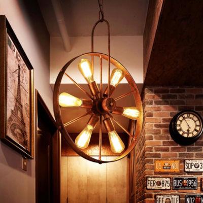 Saralin 6-Light Rustic Wagon Wheel Chandelier